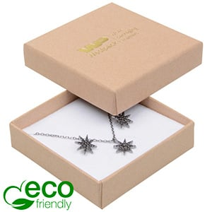 Bulk buy -  Frankfurt Eco box for earrings/pendant Natural cardboard / White foam 65 x 65 x 17