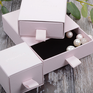 jewellery boxes drawer style in rose cardboard